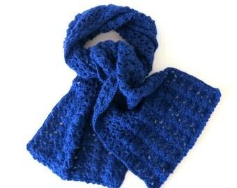 CROCHET SCARF in Royal Blue  -  Soft Winter Crochet Scarf -  Unique Handmade Blue Scarf (62'' x 11'')