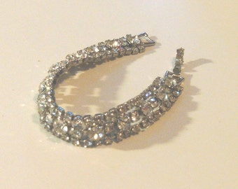 Weiss Signed, Rhinestones Embellished on Silvertone,True Vintage Bracelet