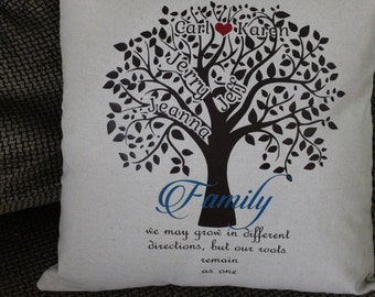 Personalized Pillow Case/Cover Family Tree