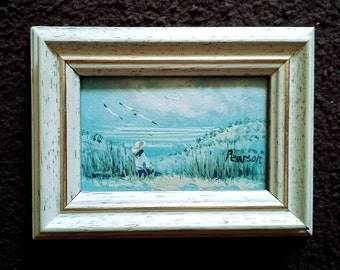 Vintage oil painting. Small landscape with a girl alone on a lakeside