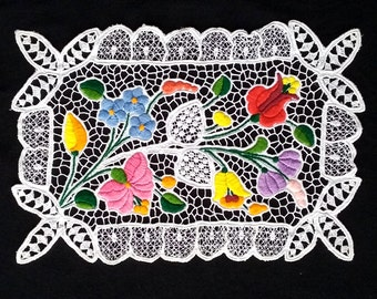 Kalocsa Embroidery, Hungarian Hand Embroidered Doily