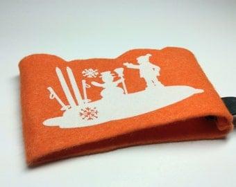 "Coffee Tea Travel Mug ""Snowman boy and ski"" To Go Cozy Sleeve scaloped Iron On"