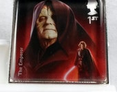 Star Wars Emperor  Sheev Palpatine The Force Awakens UK Glass Tile Pendant Key Ring Genuine Postage Stamp