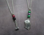 Colourful Joker  Classic Harley Quinn Couple or Friendship Necklace  Harley Quinn Necklace  Joker necklace  Hammer Necklace