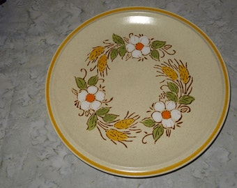 Pair of Hearthside Garden Festival Prairie Flowers Dinner Plates / Handpainted Stoneware Plates / Stoneware Plates