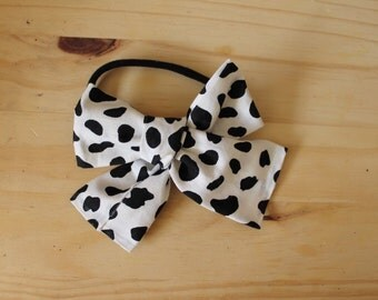Big Big Black and White Spotted Bow (headband or clip)