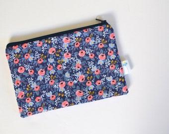 Coin purse, Navy Makeup Bag Small, Travel Pouch, Rifle Fabric Zipper Case, Storage Zipper Bag, Bridesmaid Clutch, Floral Cosmetic Bag