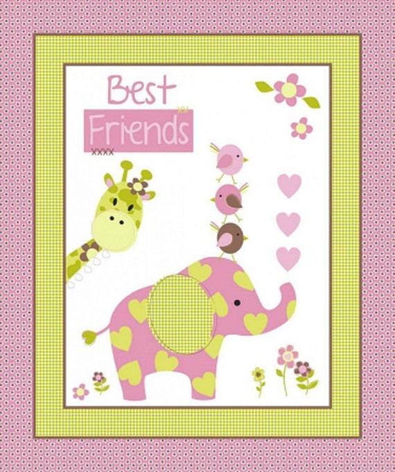 Best Friends Elephant Birds Giraffe Flowers Hearts Baby Fabric Panel