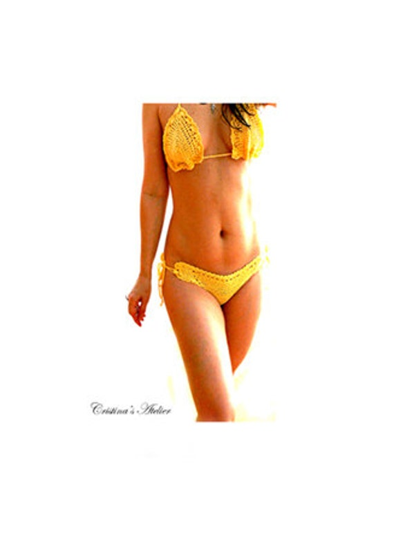 Yellow crochet bikini set-Handmade cheeky crochet swimsuit- Yelow cotton swimsuit.-Sexy women crochet bikini- Lace crochet bikini.