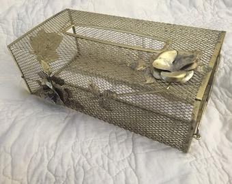 Vintage Stunning Ormolu Kleenex Cover Box, Ormolu Tissue Holder