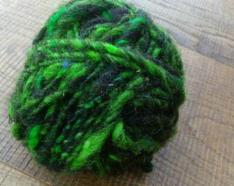 Hand spun wool green black