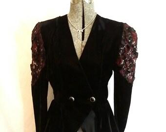 80s velvet jacket velvet lace evening jacket ribbon sequin evening jacket Goth look evening jacket Notorious jacket size 5