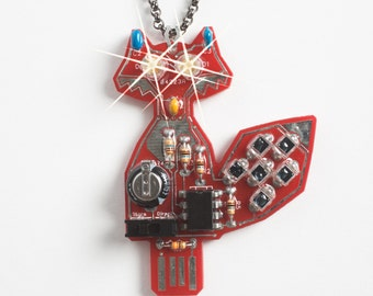 INTERMEDIATE KIT - Make Your Own Glowing LED Eyed Fox Pendant, Solar Powered.