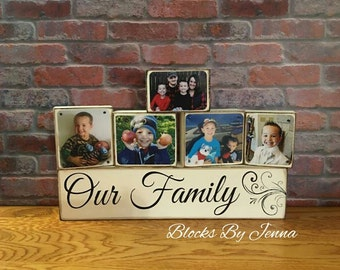 Our Family wood blocks with pictures/Family wood blocks
