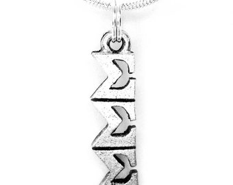 Sigma Sigma Sigma Tri-Sigma Sorority Lavalier with Chain