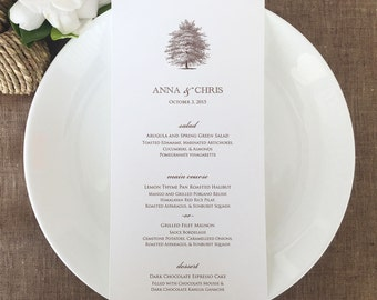 Oak Tree Wedding Menus, Tree Menu Cards, Classic Wedding Menu Cards
