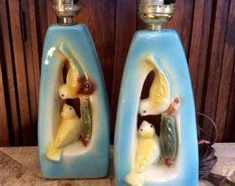 Set of Two Mid Century Kitsch Bedroom Lamps with Birds