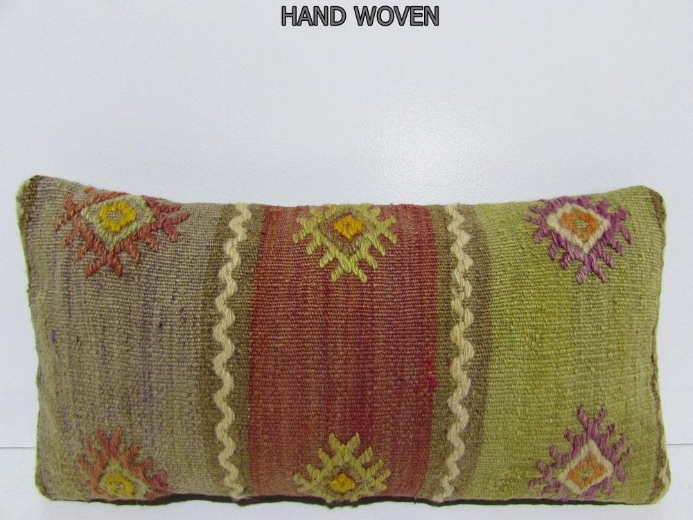 Throw Pillows On Clearance : 12x24 bench kilim pillow floral throw pillow green decorative