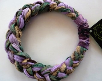 Subtle shades of lilac, green, cream, and brown weave through my chiffon Sari Silk Braided Headband - lovely!