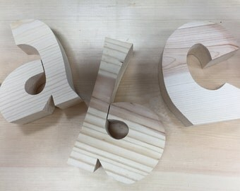 Unfinished wood letters. Wood letter decor. Custom wood letters. Wood letters.