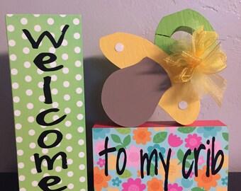 Nursery wood decor. Nursery decor. Baby shower decor. Baby shower gifts. Baby room decor.