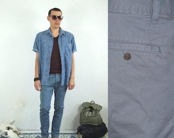ON SALE 90's vintage men's minimal blue pants