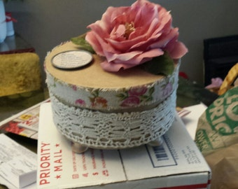 Decorated one of a kind gift box with vintage lace,flower, and a saying