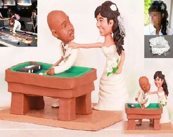 Personalised wedding cake topper - Pool table player topper (Free shipping)