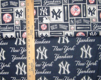 New York Yankees MLB Navy, White, & Grey Logo Cotton Fabric by Fabric Traditions! [Choose Your Cut Size]