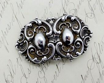 Antique Wm. Kerr STERLING BELT BUCKLE Victorian Sterling Silver Art Nouveau Two Hearts Scrolling Design Sash Style Belt Buckle