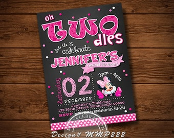 MINNIE MOUSE INVITATION, Minnie Mouse Card, Birthday Card, Party Invitation, Disney Invitation, Pink, Chalkboard, Chalkboard Invitation