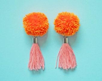 Handmade Earrings with tassel. handmade jewelry. yarn pompom
