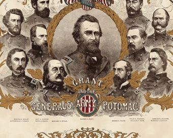 Civil War Generals of the Potomac. Panel features General Grant and other Union generals.