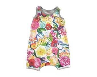 Floral Tank Playsuit - Baby Toddler Romper (3-6M)