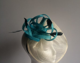 Blue & Ivory Fascinator/ Blue Kentucky Derby Fascinator