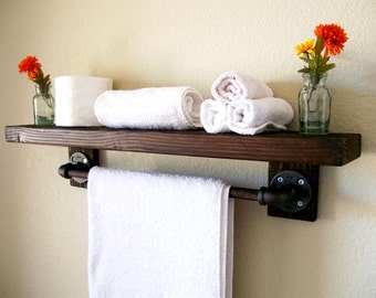 Rustic Floating Shelves Towel Rack Bathroom Shelves Wood Shelf Wall Shelf Floating Shelf Toilet Paper Holder Bathroom Storage