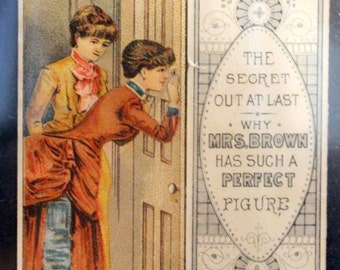 "1880's Metamorphic Victorian Trade Card Bortree Duplex Corset""Why Mrs Brown... has such a perfect figure. Ladys look thru key whole"
