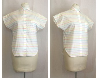 Vintage 1980's Pastel Striped Collared Blouse
