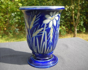 Alsace Pottery Vase Fully Marked Betchdorf of Alsace Made by Hand Fait Main Gris D'Alsace Robust Stoneware Vintage Gray and Blue Flower Vase