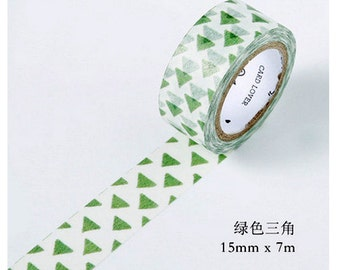 15mmX7M Primary Green Triangle Diary Washi Tape Masking Tape