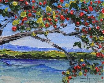 New Zealand Art, Original Painting, Landscape Painting, New Zealand painting, Pohutukawa, Textured Oil, 6x6, Impasto Art, Colorful Art