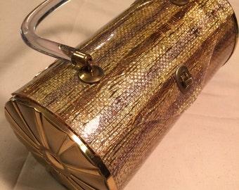 Vtg LUCITE Purse Cylindrical Gold Mesh Imbedded