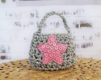 Handmade, hand crocheted doll purse, shiny pink star applique, metallic silver, fashion doll purse, handbag, tiny tote