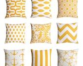 11 Sizes Available: Yellow Decorative Throw Zipper Pillow Cover Choose From 9 Fabrics 18x18 20x20 Lumbar & Euro sham sizes 24x24 26x26 28x28