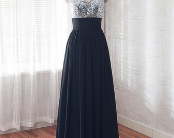 black bridesmaid dress, Sequins prom dress, long formal dress