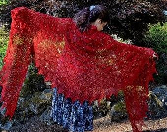 Gold Dust Gypsy, a Knit Shawl Pattern, pdf download