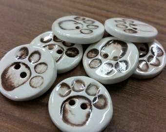 One Dog Paw Sewing Button, Ceramic Handmade White and Brown Pet Button