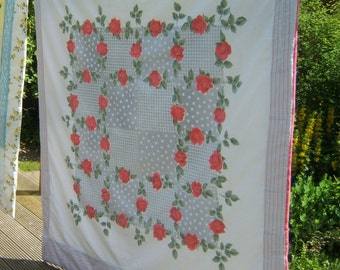 Reversible Quilt, Sofa throw, Picnic Blanket, Lap Quilt with Fifties Red Roses one side, Retro Squares the other