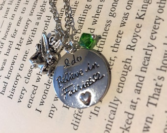 "Tinkerbell ""I do believe in fairies"" necklace"