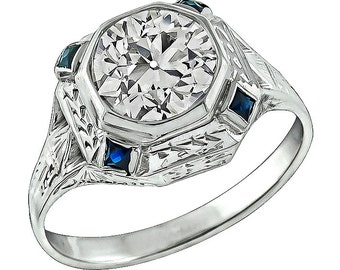 Antique 1.61ct Diamond Sapphire Engagement Ring